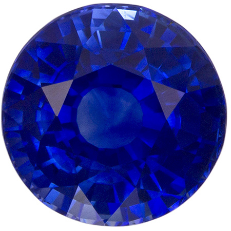 6.7 mm Blue Sapphire Genuine Gemstone in Round Cut, Vivid Blue, 1.71 carats