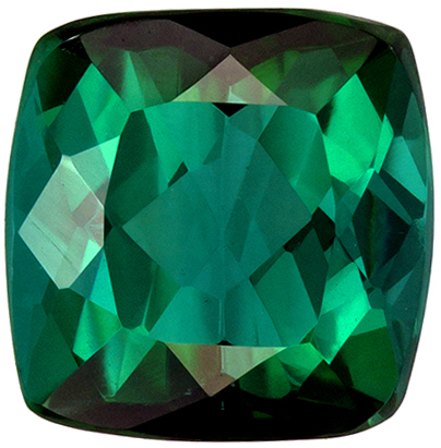 6.7 mm Green Tourmaline Genuine Gemstone Cushion Cut, Medium Blue Green, 1.58 carats