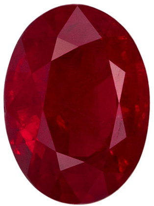 6.7 x 4.9 mm Ruby Genuine Gemstone in Oval Cut, Medium Red, 1.05 carats