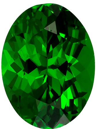 6.7 x 5 mm Tsavorite Genuine Gemstone in Oval Cut, Medium Grass Green, 0.85 carats