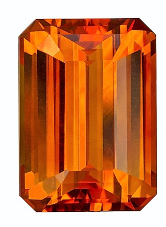 Natural Striking Orange Sapphire GIA Certified Gemstone 6.75 carats, Emerald Cut, 11.99 x 8.57 x 5.77 mm