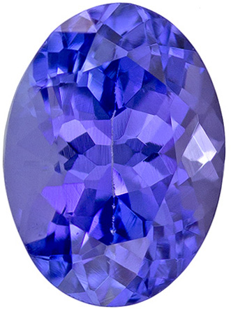6.8 x 4.9 mm Tanzanite Genuine Gemstone in Oval Cut, Rich Blue Purple, 0.92 carats