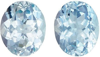 Super Fine 6.83 carats Bright Blue Aquamarine Oval Gemstone Pair, 11 x 9 mm