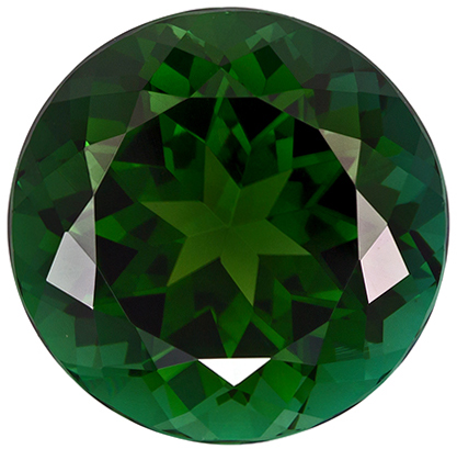 6.88 carats Green Tourmaline Loose Gemstone Round Cut, Forest Green, 12.2 x 12.2 mm