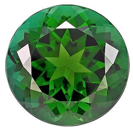 6.88 carats Green Tourmaline Loose Gemstone in Round Cut, Forest Green, 12.2 x 12.2 mm