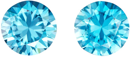 6.9 carats Blue Zircon Well Matched Gem Pair in Round Cut, Rich Teal Blue, 9 mm