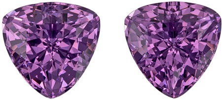 6.9 mm Purple Spinel 2 Piece Matched Pair in Trillion Cut, Vivid Magenta, 3.1 carats