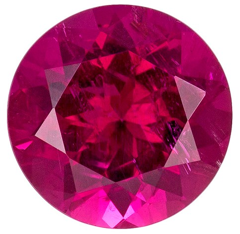 6.9 mm Rubellite Tourmaline Genuine Gemstone in Round Cut, Fuchsia Pink, 1.17 carats