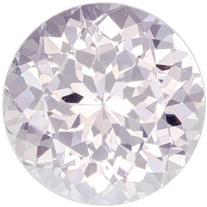 6.9 mm White Sapphire Genuine Gemstone in Round Cut, Very Colorless White, 1.67 carats