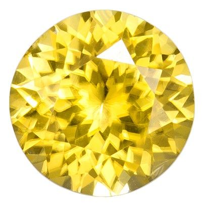 6.9 mm Fiery Yellow Zircon Gemstone in Round Cut, Intense Yellow Color in 1.81 carats