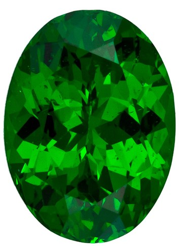 6.9 x 5.1 mm Tsavorite Genuine Gemstone in Oval Cut, Vivid Rich Green, 0.89 carats