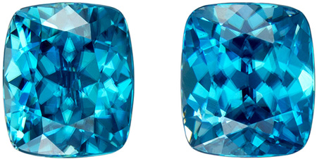 6.9 x 5.8 mm Blue Zircon Matched Gemstone in Pair in Cushion Cut, Rich Teal Blue, 4.28 carats