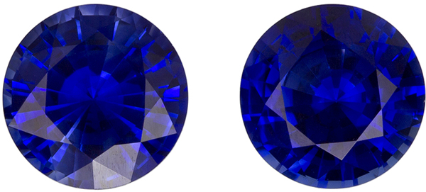 6 mm, 2.09 carats Optimum Blue Sapphires Pair, Perfect for Studs in Optimum Rich Blue Color ROunds
