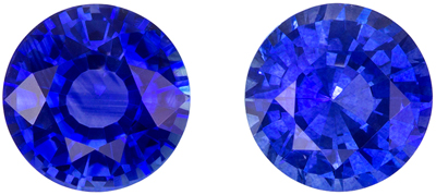 6 mm Blue Sapphire 2 Piece Matched Pair in Round Cut, Vivid Blue, 2.08 carats