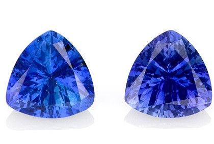Natural Blue Sapphire Gemstones, Trillion Cut, 1.8 carats, 6 mm Matching Pair, AfricaGems Certified - A Great Buy