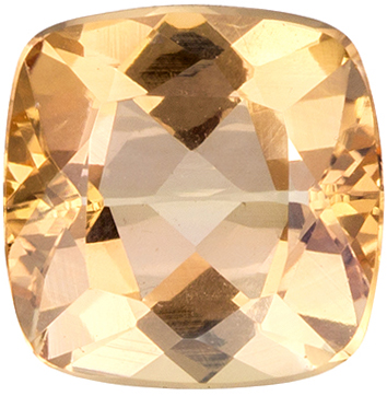 6 mm Precious Topaz Genuine Gemstone in Cushion Cut, Rich Peach, 1.12 carats