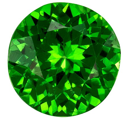 6 mm Tsavorite Genuine Gemstone in Round Cut, Medium Grass Green, 1.01 carats