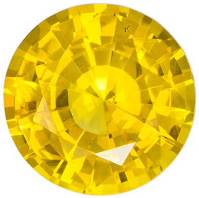 6 mm Yellow Sapphire Genuine Gemstone in Round Cut, Pure Rich Yellow, 0.94 carats