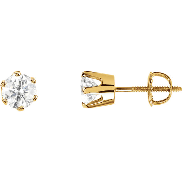 Wonderful 14 Karat Yellow Gold 0.50 Carat Total Weight Diamond Threaded Post Stud Earrings
