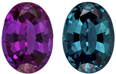 6 x 4.4 mm Alexandrite Genuine Gemstone in Oval Cut, Eggplant to Blue Green, 0.67 carats