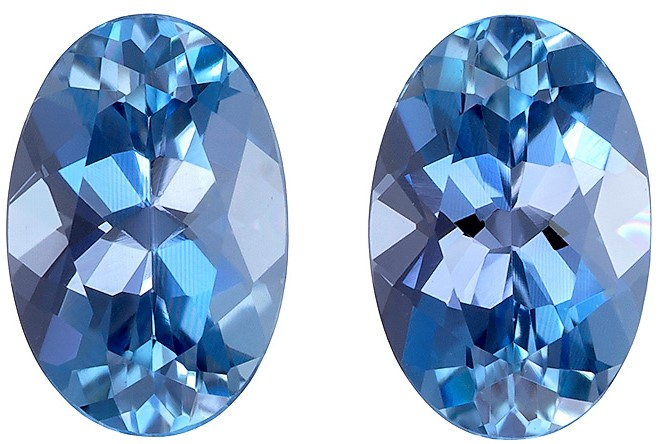 6 x 4 mm Aquamarine 2 Piece Matched Pair in Oval Cut, Pure Blue, 0.82 carats