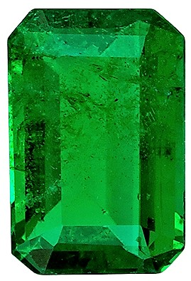 6 x 4 mm Emerald Genuine Gemstone in Emerald Cut, Vivid Green, 0.51 carats