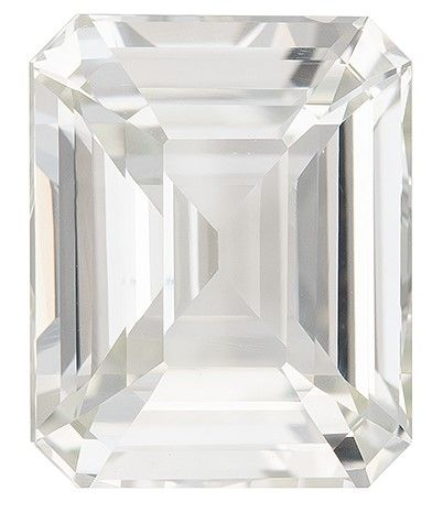 Heirloom White Sapphire Gemstone, 7.09 carats, Emerald Cut, 11.6 x 9.3 mm, Great Looking Stone