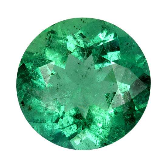 7.1 mm Emerald Genuine Gemstone in Round Cut, Rich Green, 1.11 carats