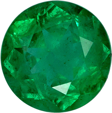 7.1 mm Emerald Genuine Gemstone in Round Cut, Vivid Green, 1.31 carats