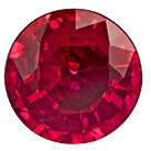 7.1 mm Ruby Genuine Gemstone in Round Cut, Open Red, 1.56 carats