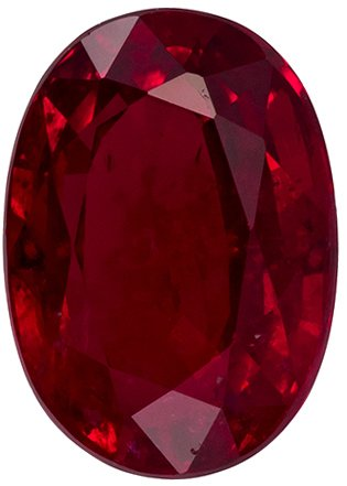 7.1 x 5.1 mm, 1.17 carats Deal Ruby Gemstone in Vivid Open Red Color in Oval Shape