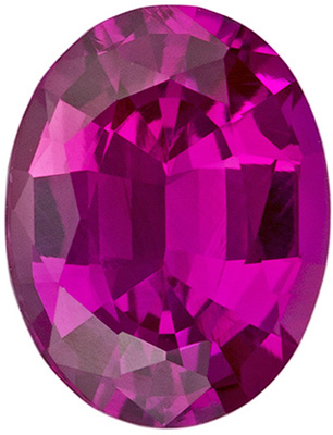 7.1 x 5.5 mm Pink Sapphire Genuine Gemstone in Oval Cut, Rich Pure Pink, 1.02 carats