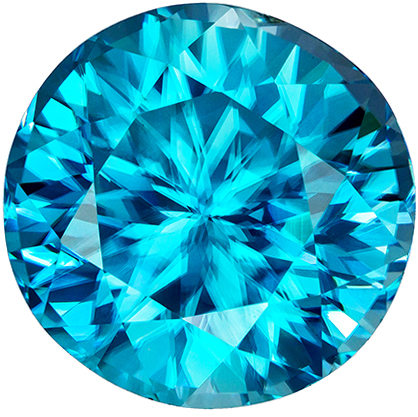 7.18 carats Blue Zircon Loose Gemstone in Round Cut, Vivid Rich Blue, 10.4 mm