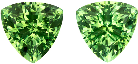 7.2 mm Green Tourmaline Well Matched Gem Pair in Trillion Cut, Vivid Mint Green, 2.74 carats