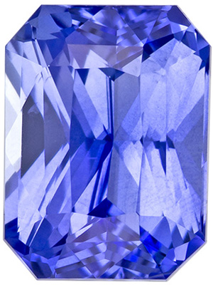7.2 x 5.3 mm Blue Sapphire Genuine Gemstone in Radiant Cut, Vivid Cornflower Blue, 1.71 carats