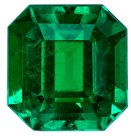 7.2 x 6.9 mm Emerald Genuine Gemstone in Square Cut, Vivid Green, 1.57 carats