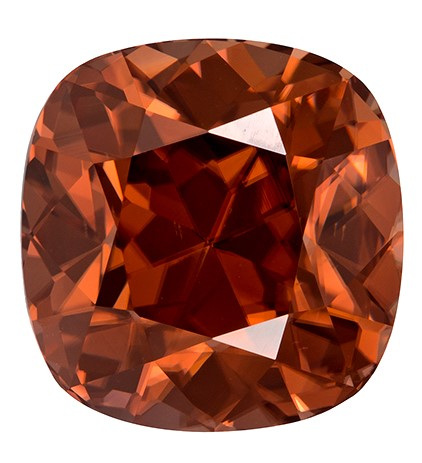 Super Fine Gem 10 x 9.7 mm Zircon Loose Gemstone in Cushion Cut, Coppery Brown, 7.28 carats