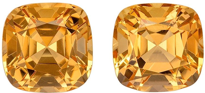 7.3 mm Precious Topaz Well Matched Gem Pair in Cushion Cut, Peach Gold, 4.71 carats