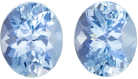7.32 carats Aquamarine Well Matched Gem Pair in Oval Cut, Pure Blue, 11.2 x 9.2 mm