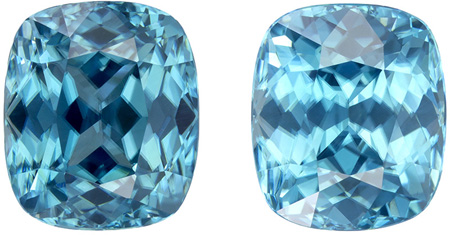 7.32 carats Blue Zircon Matched Gemstone Pair in Cushion Cut, Rich Teal Blue, 8.4 x 7.2 mm
