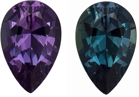 7.4 x 4.9 mm Alexandrite Genuine Gemstone in Pear Cut, Eggplant to Blue Green, 0.79 carats