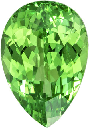 7.4 x 5.1 mm Green Garnet Genuine Gemstone in Pear Cut, Medium Mint Green, 1.06 carats