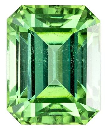 Unset Green Tourmaline Gemstone, Emerald Cut, 1.75 carats, 7.4 x 5.8 mm , AfricaGems Certified - An Extraordinary Gem