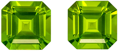 Fine Quality 7.48 carats Green Peridot Emerald Gemstone Pair, 9 mm