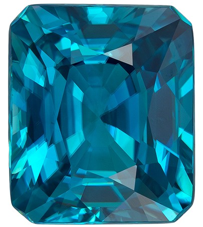Natural Blue Zircon Gemstone, 7.5 carats, Emerald Cut, 11.3 x 9.5  mm , Super Low Price