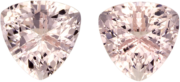 7.5 mm, 2.88 carats of Morganite in Trillion Cut, Medium Peach Pink Color Gemstones