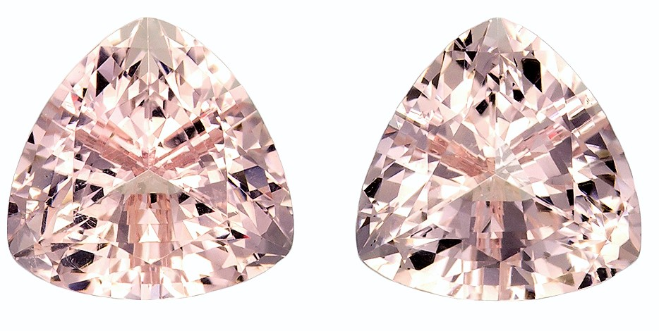 7.5 mm Morganite 2 Piece Matched Pair in Trillion Cut, Peach Pink, 2.88 carats