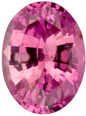 7.5 x 5.5 mm Pink Sapphire Genuine Gemstone in Oval Cut, Medium Pink, 1.29 carats