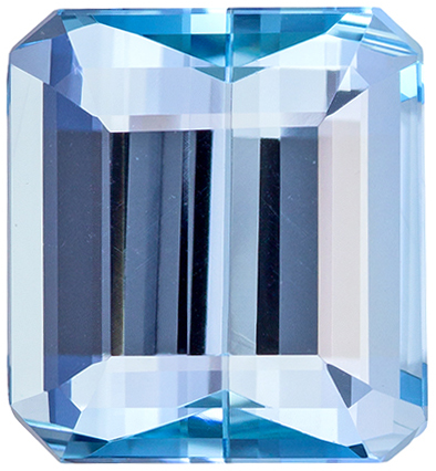 7.53 carats Aquamarine Loose Gemstone in Emerald Cut, Vivid Blue, 12.1 x 11.2 mm