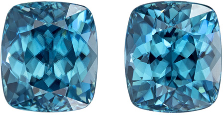 7.53 carats Blue Zircon Matched Gemstone in Pair in Cushion Cut, Rich Blue, 8.3 x 7.3 mm